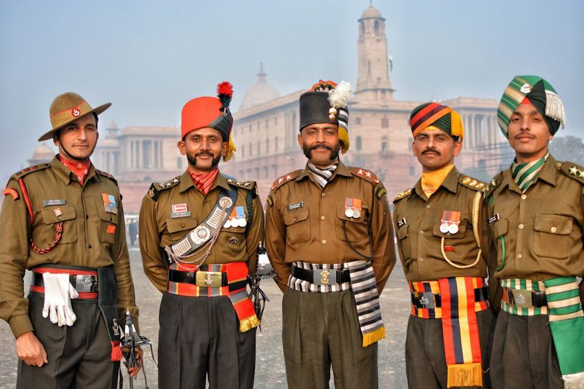 Proud Officials of 5 different contingents coming together as One. Beauty of the moment. Full Dress Republic Day Rehearsals 2018. India Meninuniform India Soldier Pride Prideparade Men Portrait The Portraitist - 2018 EyeEm Awards