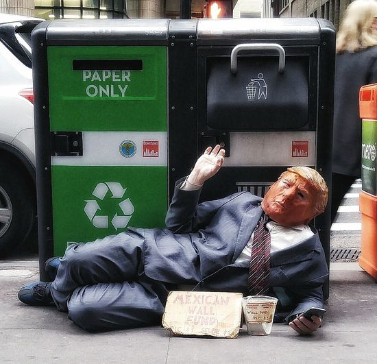 Trumpoid Life Imitating Art . Art Imitating Life . Street Art Wall Street In New York City One Person One Person People Day Full Length Businessman One Man Only
