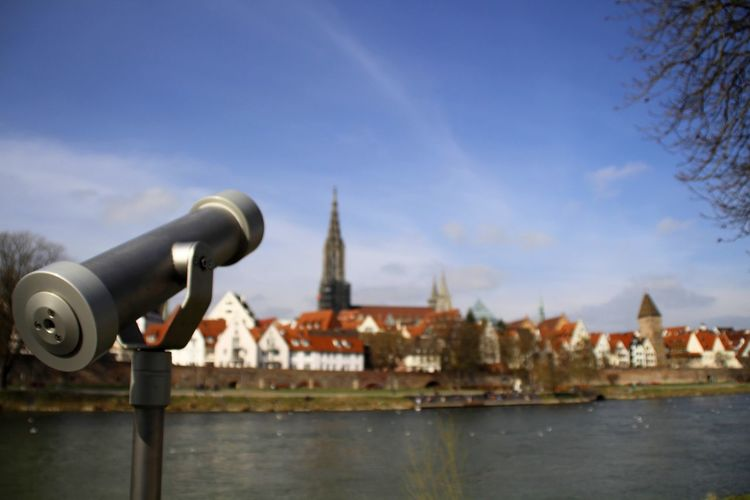 Ulm Streetphotography Tourism Coin-operated Binoculars Cityscape Water City Urban Skyline Place Of Worship Hand-held Telescope River Sky Architecture Binoculars Telescope Visiting Tourist Attraction  Canon Historic Observation Point Coin Operated Famous Place International Landmark
