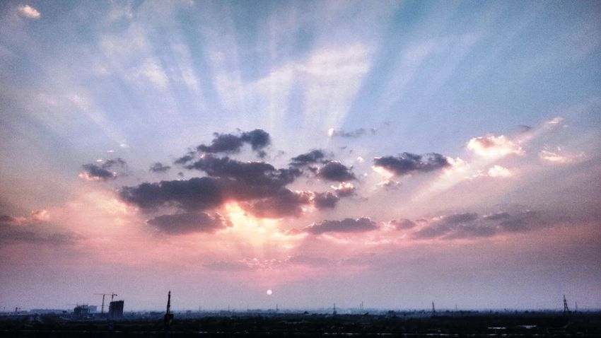 Architecture Beauty In Nature Cloud - Sky Day Low Angle View Nature No People Outdoors Scenics Silhouette Sky Sunbeam Sunset Tranquil Scene Tree