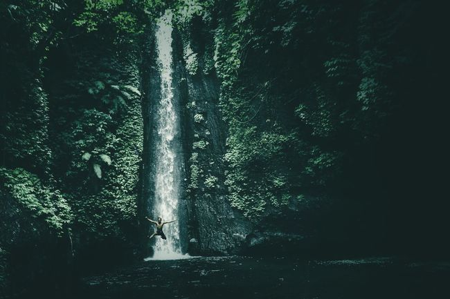 Be. Ready. Nature Outdoors People Beauty In Nature Folkscenery Beauty In Nature Folklore Folkgood Folkindonesia Folkcreative Waterfall Photography Folkportraits Folkmagazine Modernoutdoorsman Water Day Tree One Person Adults Only Adult Only Women Sky