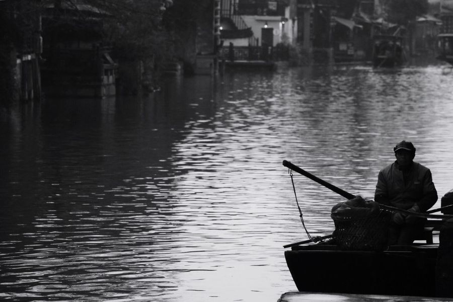 China Photos One Person River Water Real People Old XitangChina Blackandwhite Black & White Blackandwhite Photography Hello World Hanging Out Beautiful Enjoying Life Amazing Xitang Da y B la ck And White