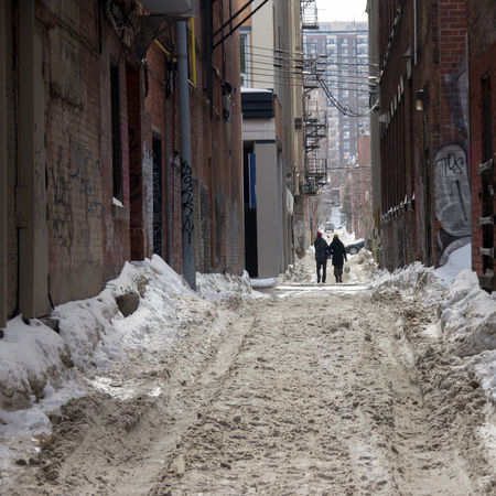 Backalley Allay Backalley Building Buildings Dirty Dirty Snow Montreal, Canada People Peoplephotography V Walking