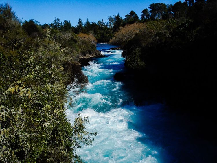 Rapid Water Beauty In Nature Nature Tree Scenics Tranquil Scene Blue River Outdoors No People EyeEm Gallery New Zealand Photography Canonphotography Power In Nature Huka Falls