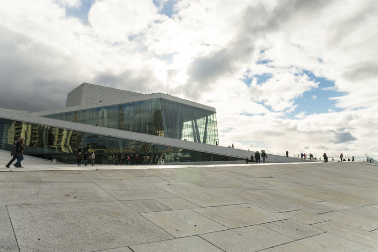 Oslo, Opera House Day Built Structure Architecture Sky Cloud - Sky Building Exterior Real People Travel Outdoors Travel Destinations City Tourism Oslo Oslo Opera House Oslo, Norway Incidental People Glass - Material Reflaction Cloudy Day Cloudy Opera House