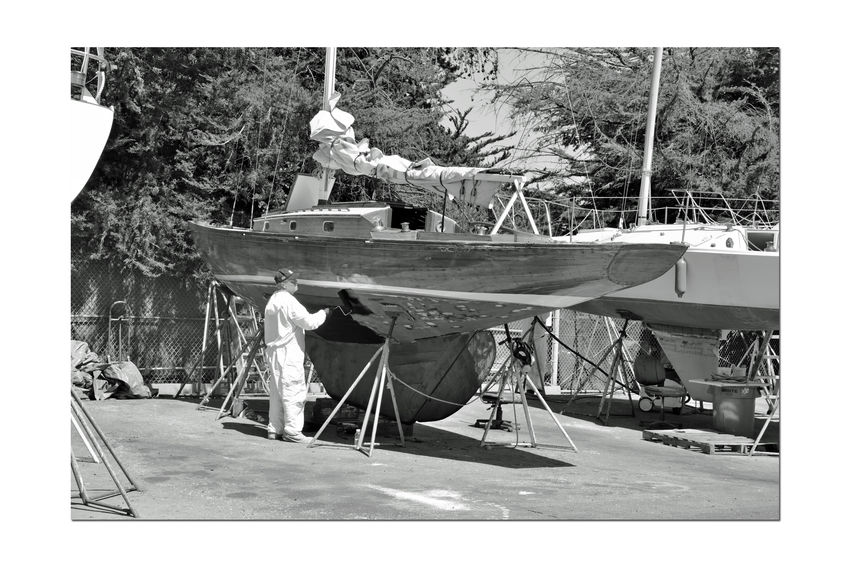Boatyard @ Berkeley Marine Center 7 Berkeley, Ca. Boat Repair And Restoration Custom Yacht Builder Man Painting Boat Hulls Bnw_friday_eyeemchallenge Boatyard Keels  Boats On Stands Boats Being Repaired Masts Boats In A Line Not Quite Ready For Water Boats Water Craft Sailboats Yachts Monochrome Black And White Black And White Collection  Black & White Black And White Photography