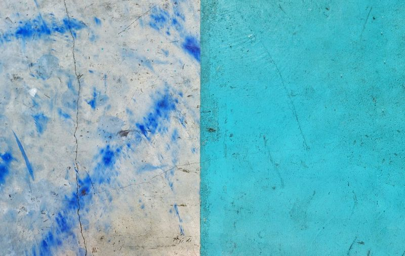 Half turquoise blue half mortar color concrete wall with dark blue painted, two tone background Wall Minimalism Blue Art Painting Mortar Backgrounds Wall Cement Concrete Straight Color Turquise Blue Textured  Backgrounds Weathered Abstract Close-up Paint Old-fashioned Full Frame Multi Colored Architecture No People Day Outdoors
