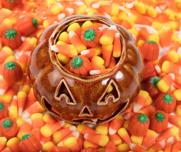 Close-Up Of Candies In Jack O Lantern