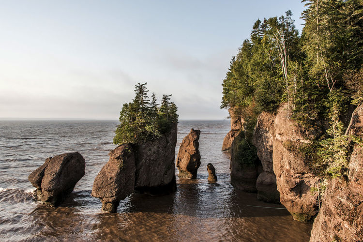 Panoramic shot of rocks by sea against sky