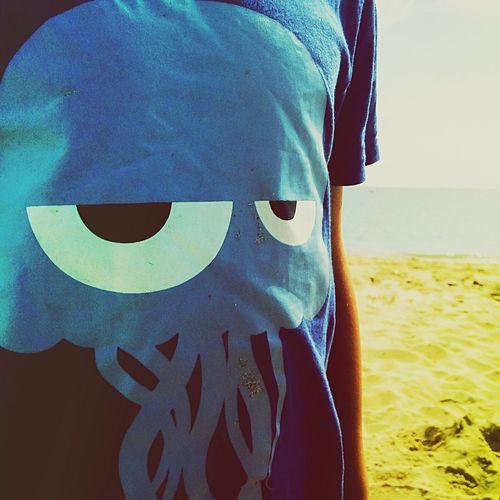 Life should be a Beach ! Beachlife Surf's Up Blue Print Tshirt Sceptical Octopus