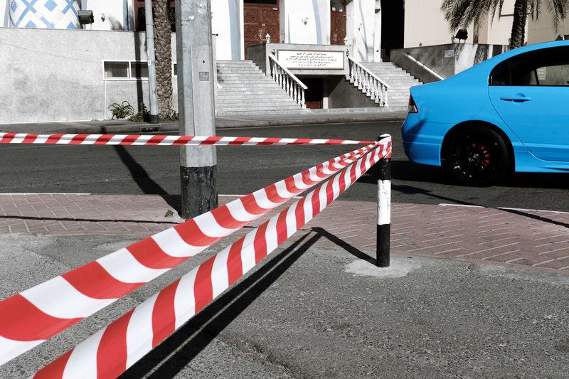 Zebra crossing on sidewalk in city