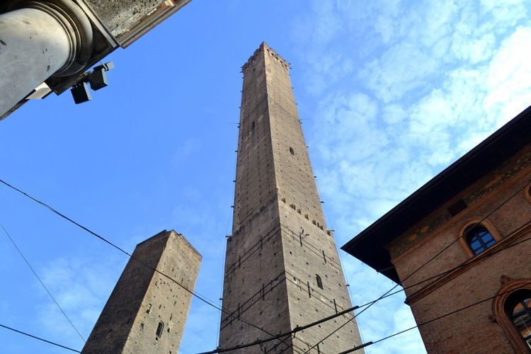 Architecture Bologna Emilia Romagna Architecture Blue Building Exterior Built Structure Day History Landscape Low Angle View No People Outdoors Place To Visit Sky Torre Degli Asinelli Tower Travel Destinations View From Above
