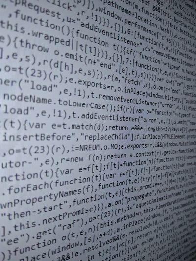 Javascript code Computer Code Javascript Hacker Programmer Backgrounds Full Frame Communication Text Close-up Western Script Capital Letter Big Data Computer Crime Pattern Information Computer Hacker