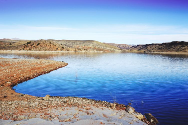 a beautiful morning Lake Reservoir Blue Water Water Nature Lake Scenics Blue Beauty In Nature Sky Tranquility Landscape Outdoors Clear Sky Arid Climate