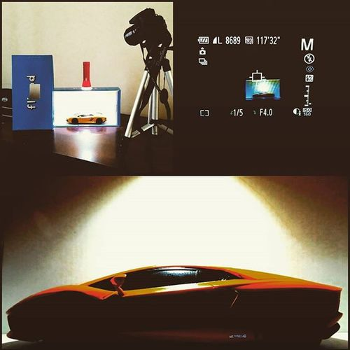 Putting the old shoebox and torch to good use..... DIY Homemadephotostudio Shoebox Ledlight Lamborghini Aventador Canon