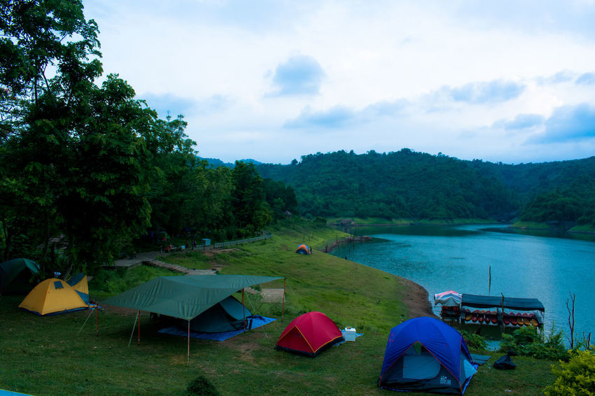 Camping Beauty In Nature Beauty In Nature Cloud - Sky Landscape Nature No People Outdoors River Scenics Sky Tent Tranquil Scene Tranquility Tree Vacations Water