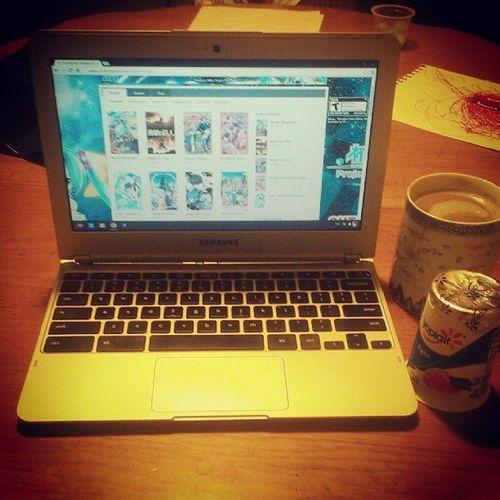 #coffee, #crunchyroll, and #yogurt...hello Sunday night. Coffee Snacks Anime Caffeine Yogurt Otaku Upallnight Chromebook Lookatthatcoffee Crunchyroll Samsungchromebook Teamchromebook