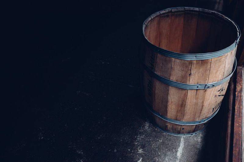 Empty wooden barrel Barrel Wood - Material Wine Cask No People Object Barrels Negative Space