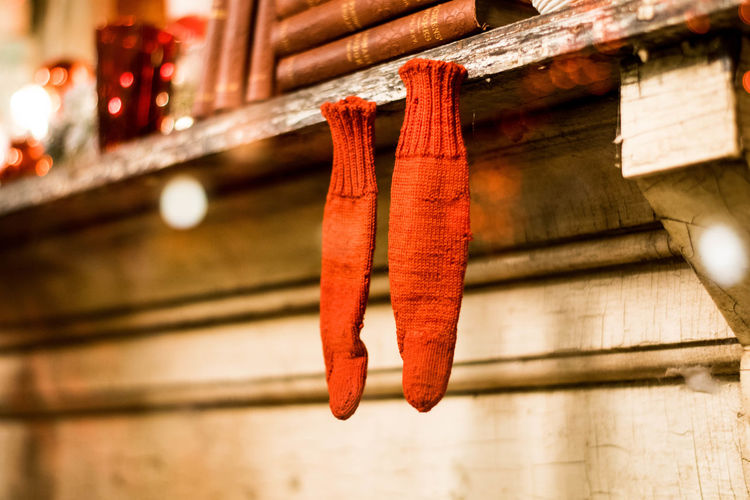 Low angle view of decorations hanging outside house