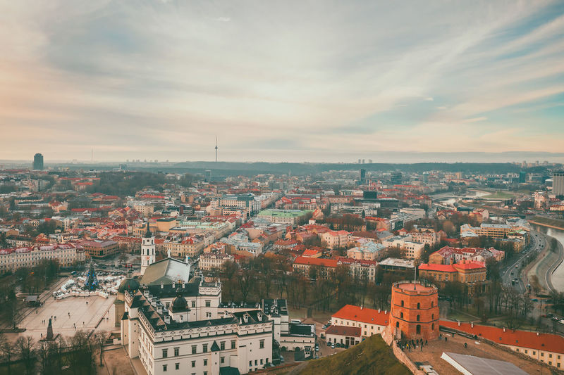 Vilnius, winter season, drone aerial view Capture Tomorrow Drone  Aerial View Aerial Mavic 2 Mavic 2 Pro Europe Lietuva Winter Gediminas Tower Gedimino Pilis Building Exterior Architecture Built Structure City Cityscape Building Sky Residential District Cloud - Sky High Angle View Crowd Crowded Nature Day Community Outdoors Town House Roof TOWNSCAPE Settlement