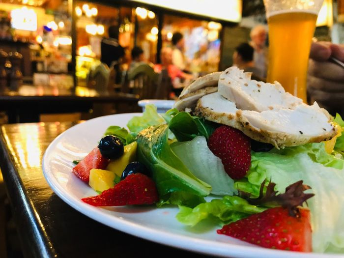 Retaurant Salad Food And Drink Food Freshness Ready-to-eat Fruit Plate Healthy Eating Still Life Sweet Food Focus On Foreground No People Restaurant Strawberry Serving Size Close-up