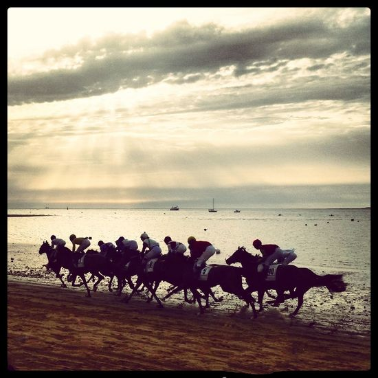 Carreras de caballos en Sanlúcar de Barrameda Summertime Summer Memories... Horse Racing Horses Sunset Sand Beachphotography The Week Of Eyeem Landscape Clouds And Sky