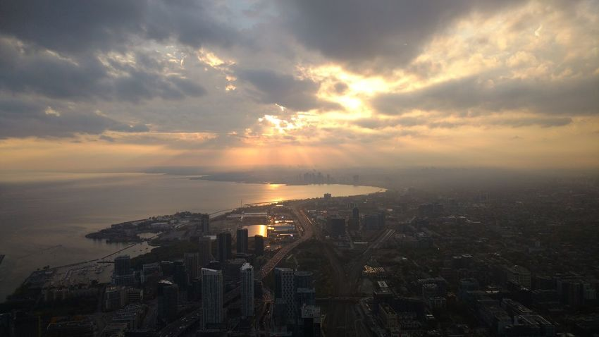 Toronto Views from the sky Dramatic Sky Sunset City Cloud - Sky Outdoors Day Views Viewsfromthe6 Waterfront First Eyeem Photo