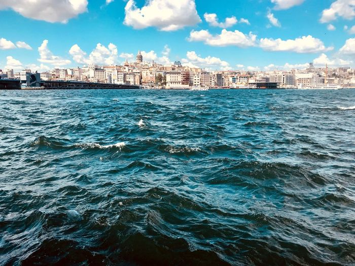 Panorama GalataBridge ShotOnIphone Istanbul Turkey Istanbul Water Sky Cloud - Sky Built Structure City Building Exterior Architecture Outdoors Cityscape No People Nautical Vessel Sea Transportation Nature Waterfront Rippled Building Day Blue