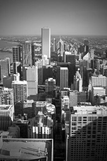 Architecture Black & White Black And White Building Built Structure Chicago City City Life Cityscape No People Office Building Sky Skyscraper Tall - High United States United States Of America USA Urban Skyline Street Photography Street Life