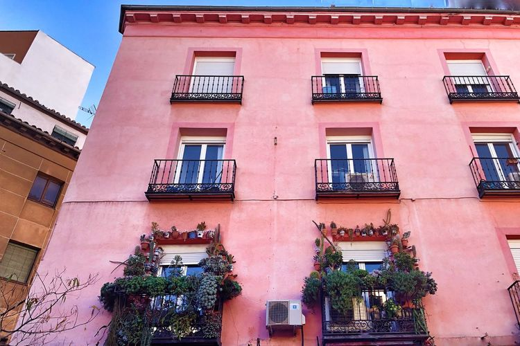 Pink Facade Pink House Streets Of Madrid Building Exterior Architecture Built Structure Building Window Low Angle View Residential District