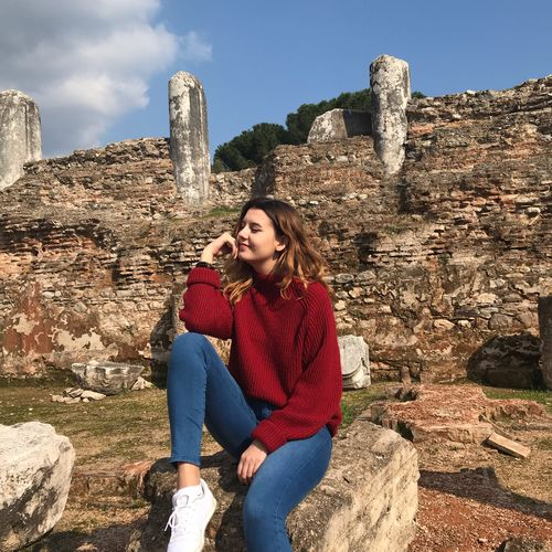 One Person Lifestyles Leisure Activity Real People Sitting Young Adult My Best Photo Built Structure Architecture Sunlight Nature Sky Day Young Women