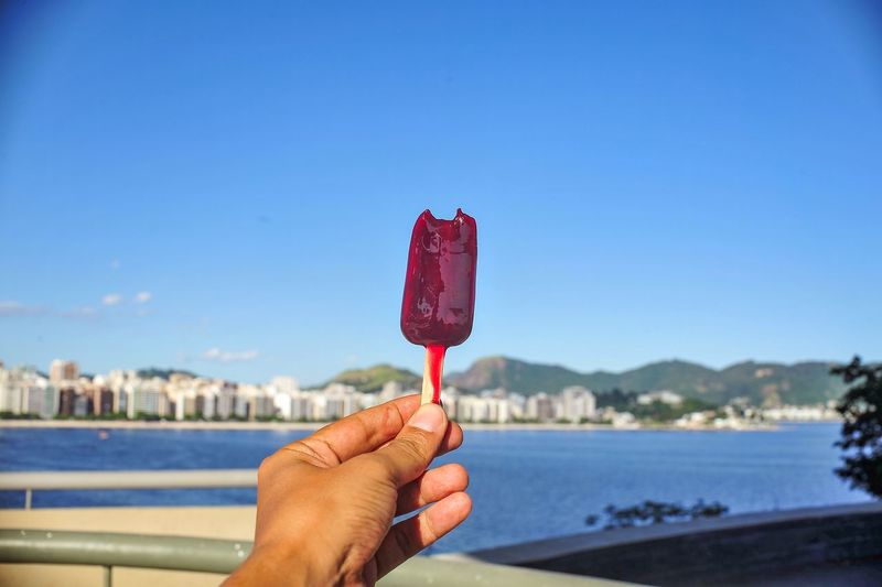 Cropped image of hand holding popsicle by lake against sky
