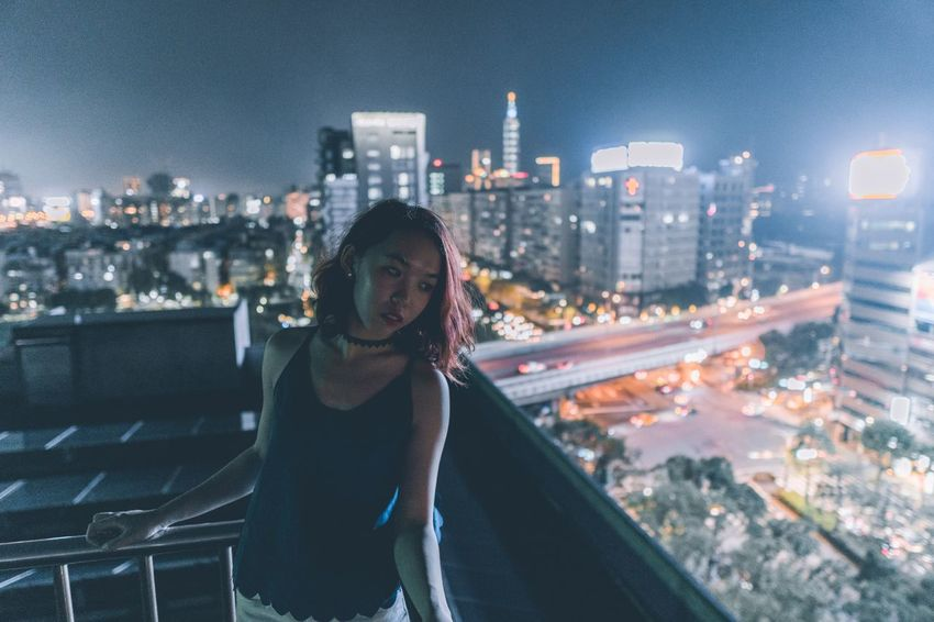Sonyalpha Sexygirl Sony Taipei 台北 Portrait 人像 Women Portrait Of A Woman Girl Taiwan EyeEmNewHere Daily Life 台灣 City EyeEm Bestoftheday Street Streetphotography Nightphotography Night Way2ill Rooftop Architecture City Building Exterior Cityscape Built Structure One Person Leisure Activity