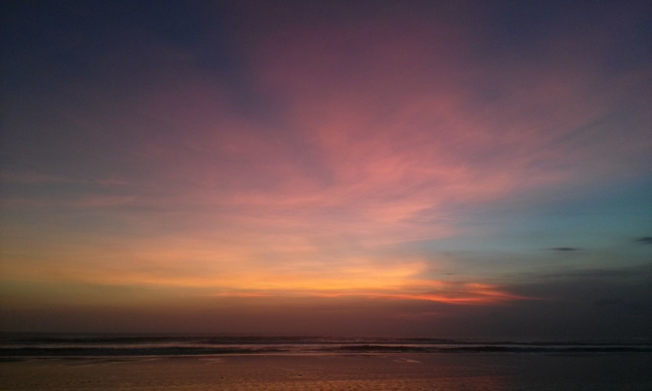 sky, scenics - nature, sea, beauty in nature, tranquility, sunset, water, tranquil scene, cloud - sky, horizon, horizon over water, orange color, land, nature, idyllic, no people, beach, non-urban scene, outdoors