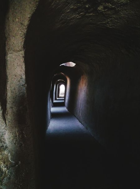 Tunnel Arch Indoors  The Way Forward Light At The End Of The Tunnel Dark Cellar Built Structure Illuminated Architecture Cool Oneplus X Onepluslife Smartphonephotography MyClick History Ancient Historical Sights Incredible India India