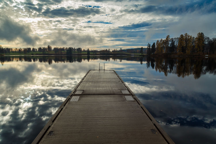 Water Sky Lake Reflection Tranquility Tranquil Scene Cloud - Sky Nature Direction The Way Forward Pier Idyllic Outdoors Platform Water Reflection Calm Water Fall Autumn
