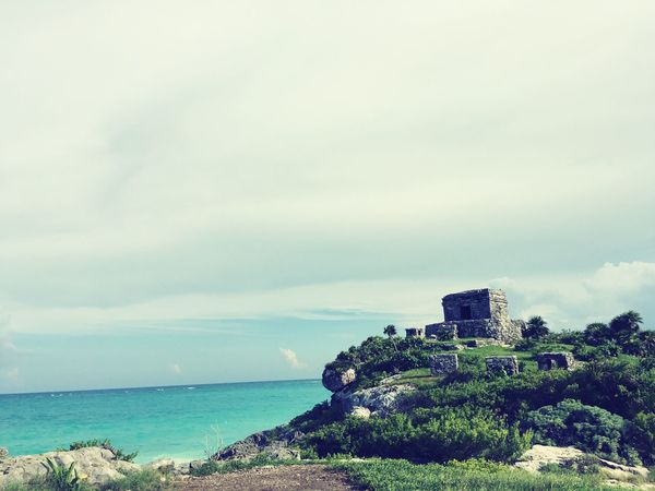 Cancun Mexico Tulum , Rivera Maya. Green Piramids Power In Nature Beach Blue Water Sky Horizon Over Water Water Sea Tourism Tranquility Beauty In Nature Nature Vacations History