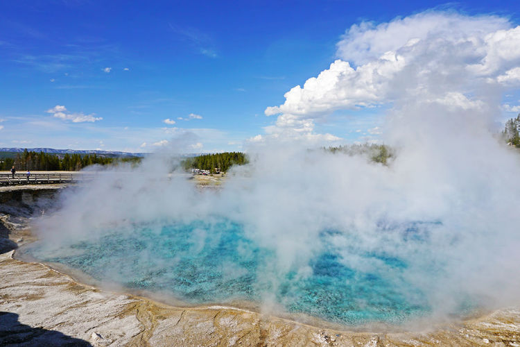 2018 Earth Excelsior Geyser Crater Midway Geyser Basin West Yellow Stone World Heritage Wyoming Yellowstone Yellowstone National Park America Bacteria Beauty In Nature Geology Geyser Heat - Temperature Hot Spring Nature Outdoors Physical Geography Power In Nature Sky Steam Volcano Water イエローストーン
