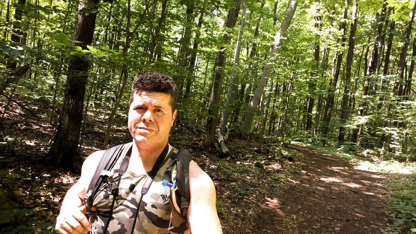 Myself, hiking today in Oka Canada, hope yoy had a great day too 😀 EyeEm Selects Freshness Outdoors Plant Leaf Close-up Nature Maple Leaf Trail Growth Backgrounds Tree Tree Area Tranquil Scene Forest WoodLand Adult Man Hiking Hiking Adventures Hiking Trail Beautiful Day Rambo Camouflage Camo Second Acts Be. Ready.