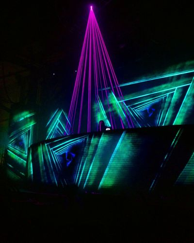 Connection Illuminated Pink Color Bridge - Man Made Structure No People Laser Built Structure Night Architecture Outdoors Bass Bassnectar Bassnectar Concert Rave Ravechasers Lazer Lazers