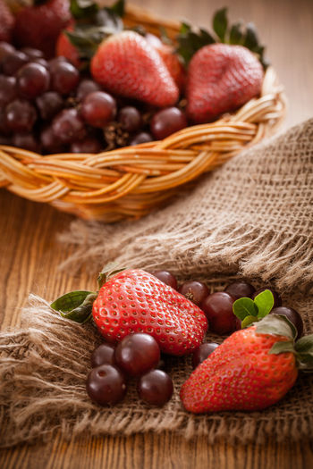 Close-up of strawberries in basket on table