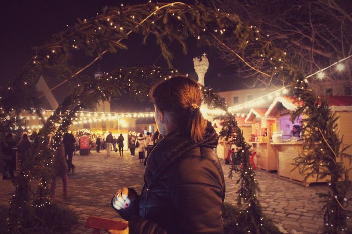 The Culture Of The Holidays Outdoors Tree Night Illuminated City Person Christmas Lights Christmasfair Christmas Around The World Christmasfeeling
