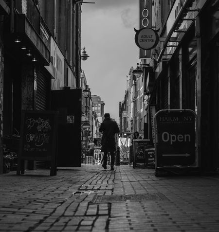 Alley Alleyway Architecture Building Exterior Built Structure City City Life Cobblestone Diminishing Perspective Full Length Londonderry Men Outdoors Person Rear View Soho Street Walking