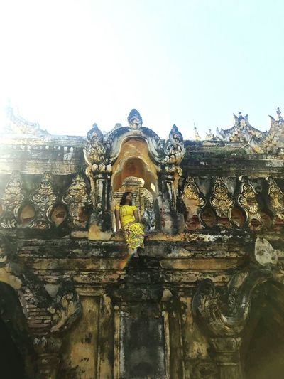 At Myanmar Religion Travel Destinations History Travel Old Ruin Outdoors Day Yellow Color Nature
