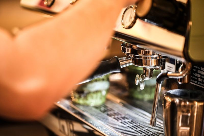 EyeEm Selects Espresso Maker Machinery Coffee - Drink Cafe Preparation  Indoors  Barista Coffee Cup Selective Focus Close-up Food And Drink Appliance Motion No People Technology Day Freshness JGLowe