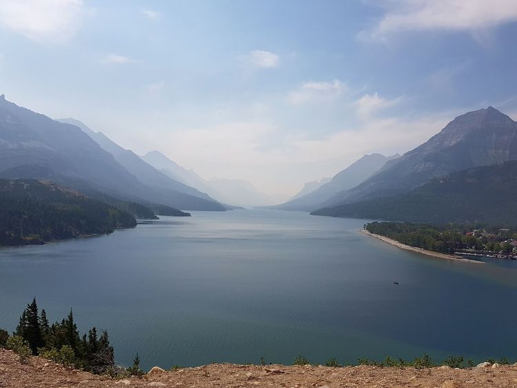 Lake Water Mountain Scenics Nature Outdoors Landscape Beauty In Nature Tranquil Scene Tranquility No People Day Fog Travel Destinations Sky Tree Alberta Waterton Lakes National Park Prince Of Wales Hotel