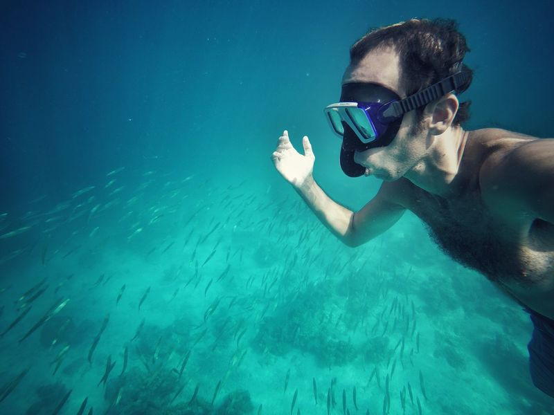 Underwater Swimming Water UnderSea Leisure Activity Adventure Swimming Goggles Animal Themes Scuba Diving Snorkelling Snorkeling Koh Rok Thailand Photos Blue Wave Fish Freedom The Portraitist - 2017 EyeEm Awards Mix Yourself A Good Time