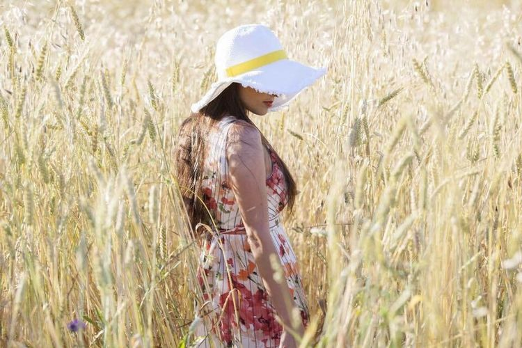 Field Plant Land One Person Agriculture Hat Rural Scene Women Nature Side View Landscape Day