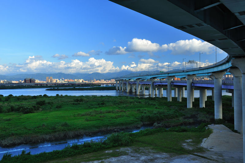 Landscape viaduct leading to both places Broad City Construction Path Taiwan Traffic Aisle Architectural Column Architecture Bridge Bridge - Man Made Structure Built Structure City Cloud - Sky Connection Day Extend Nature New Taipei City No People Outdoors River Sky Transportation Water