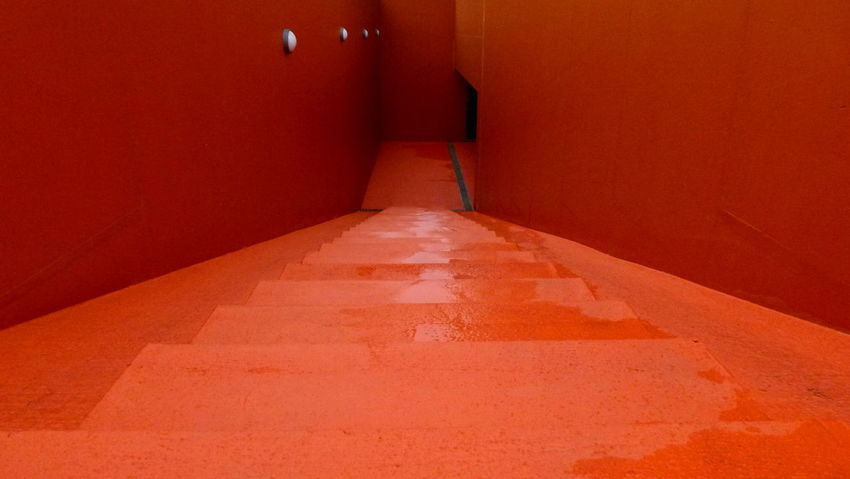 Architecture Built Structure Concrete Descent Diminishing Perspective Downwards No People Orange Stairs Wet